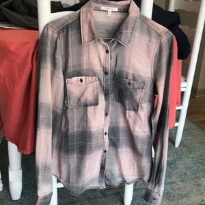 Button down flannel. Grey and light pink